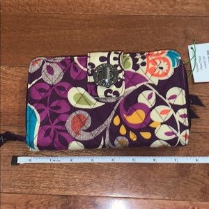 Vera Bradley wallet turnlock plum crazy NWT womens